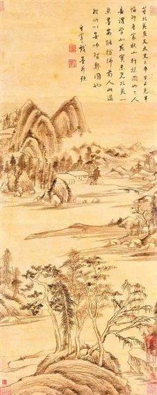 图七   明董其昌《疏树遥岑图》轴  上海博物馆藏