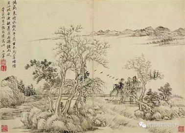 图二十五:3   清王翚《山水图》册第七开   故宫博物院藏