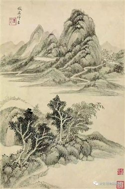 图二十六   清王时敏《仿古山水》册第四开、 第十开   故宫博物院藏